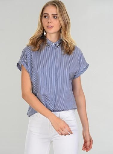 People By Fabrika Yakası Taş İşlemeli Gömlek Lacivert